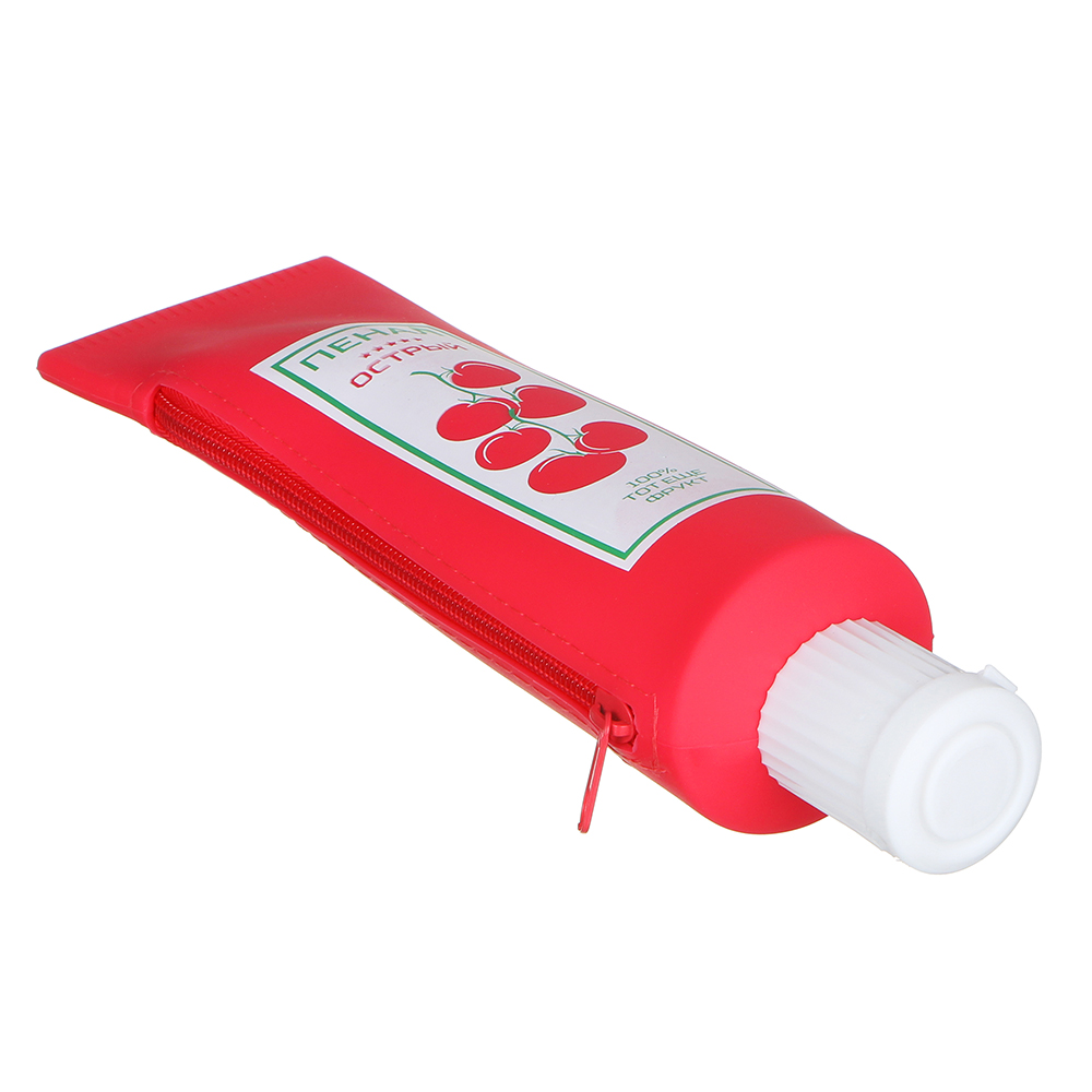 """Пенал в форме тюбика, с точилкой в крышке """"Продукты"""", пластик, силикон, 25х6,5х6см, 3 дизайна"""