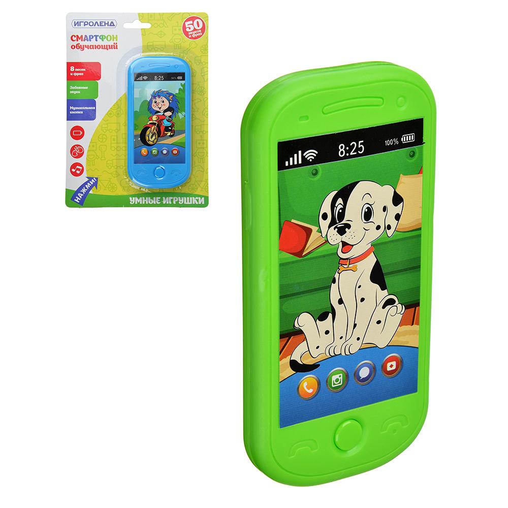 ИГРОЛЕНД Смартфон обучающий, звук, 2 ААА, пластик, 6х12,6х1,5см, 4 дизайна