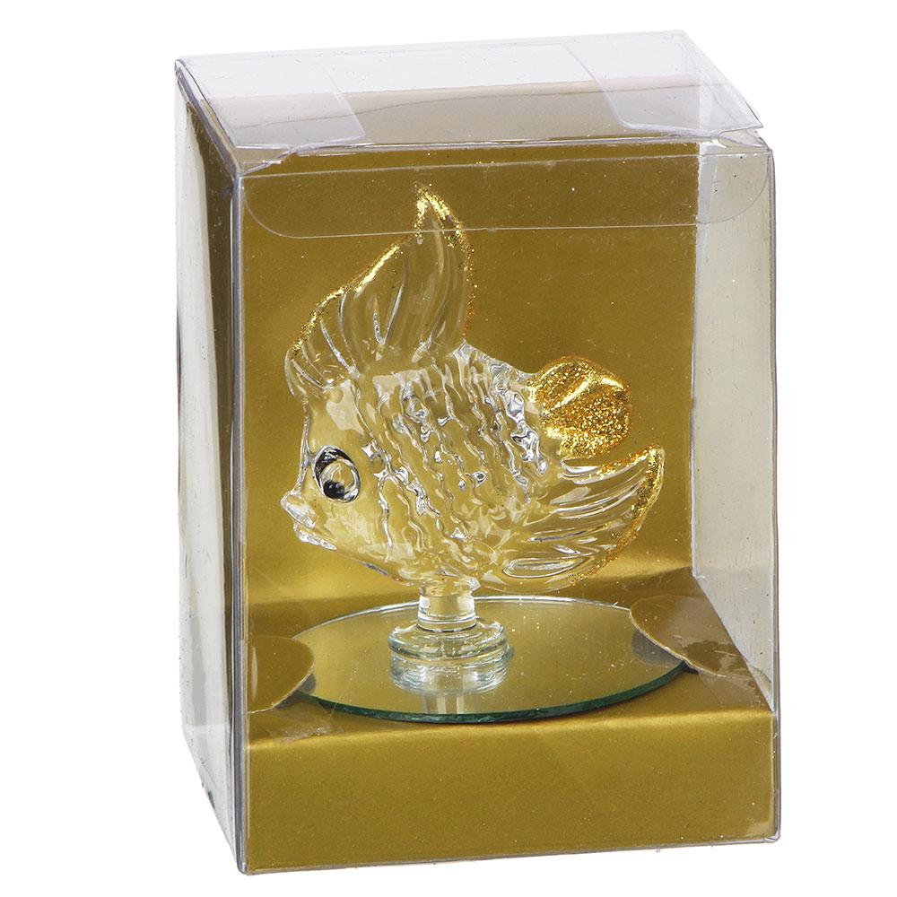 Фигурка в виде рыбы, 10х6,5х7,5 см, стекло, 2 цвета