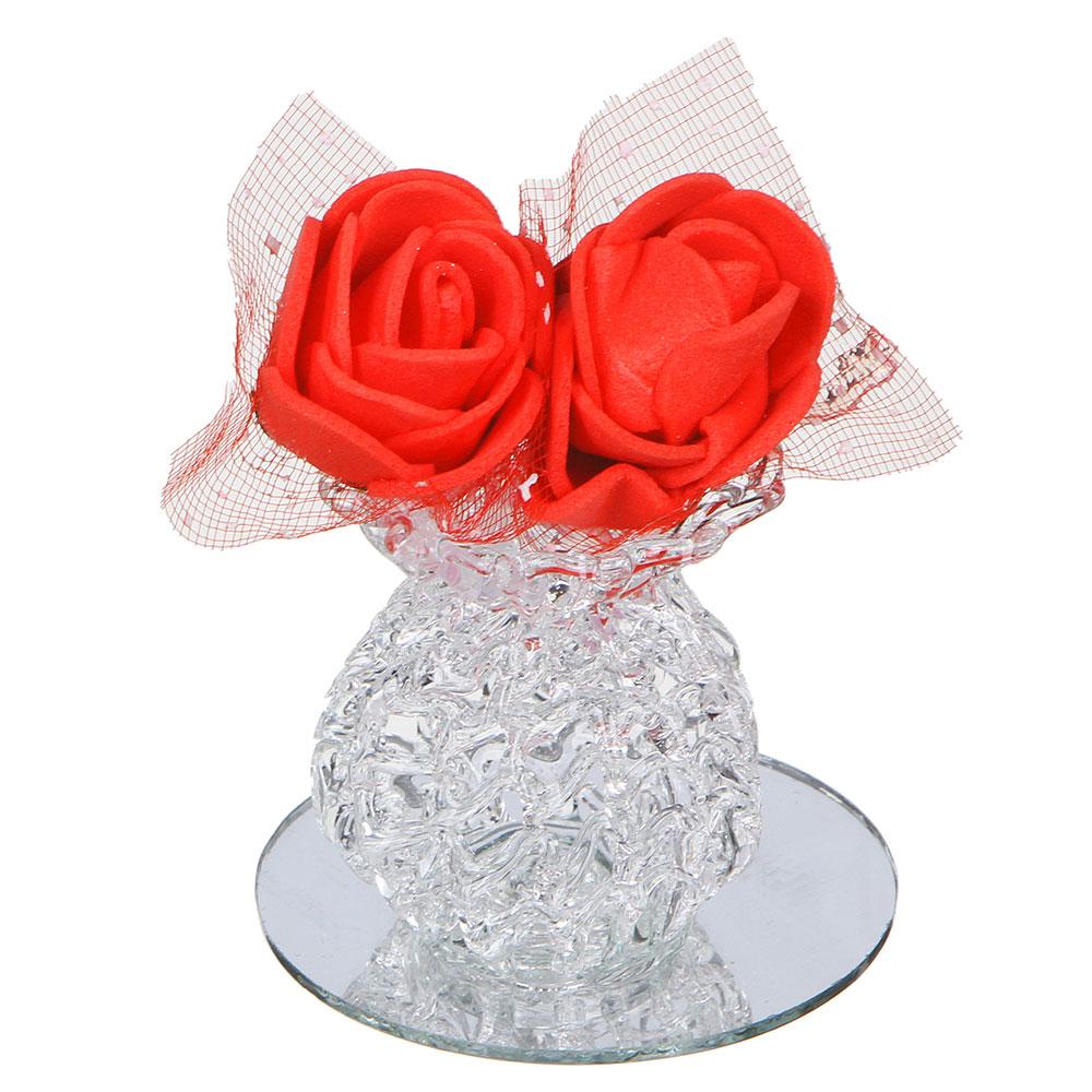 Фигурка в виде вазочки с цветами, 7,5х6,5 см, стекло, неопрен, 2 вида
