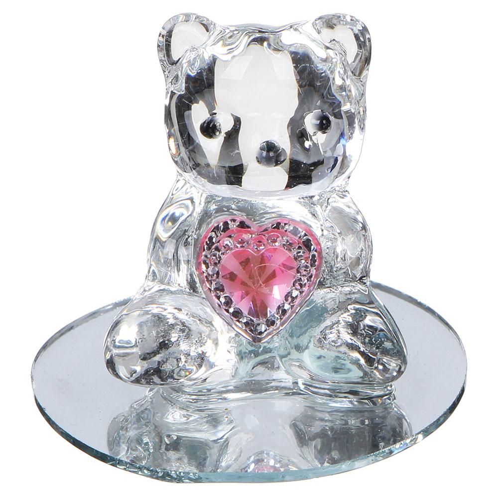 Фигурка в виде мишки с сердечком, 7,5х6,5 см, стекло, 4 цвета