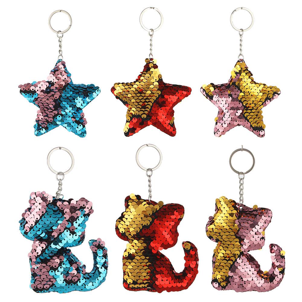 Брелок c пайетками, звездочки и сердечки, 2 вида, 3 цвета, полиэстер, металл, 8-9 см