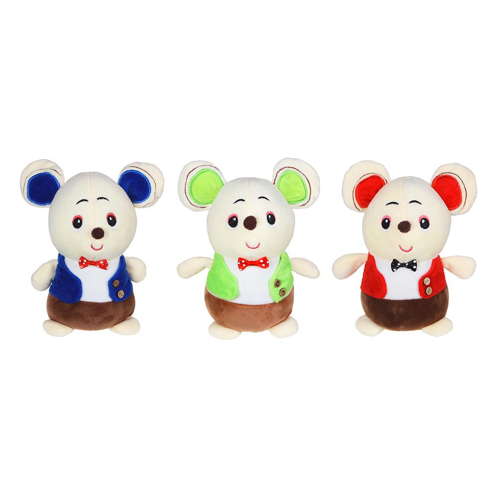 МЕШОК ПОДАРКОВ Игрушка мягкая в виде мышонка в жилете, 20-25см, плюш, 2-3 цвета