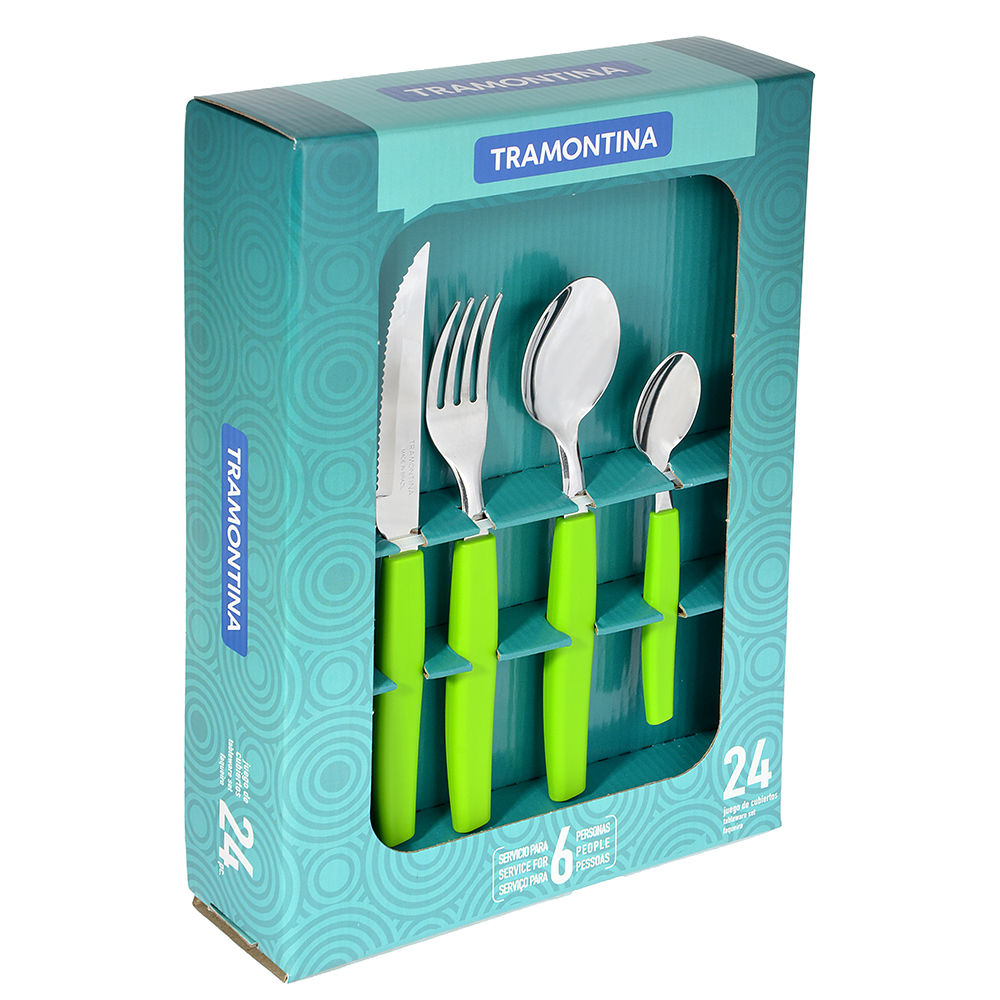 Tramontina Munique Набор столовых приборов 24пр, зеленая ручка, 23299/272