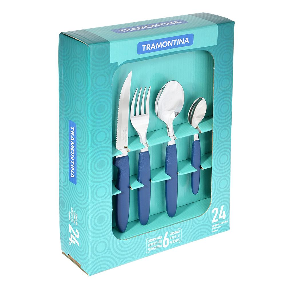 Tramontina Ipanema Набор столовых приборов 24пр, синяя ручка 23398/172