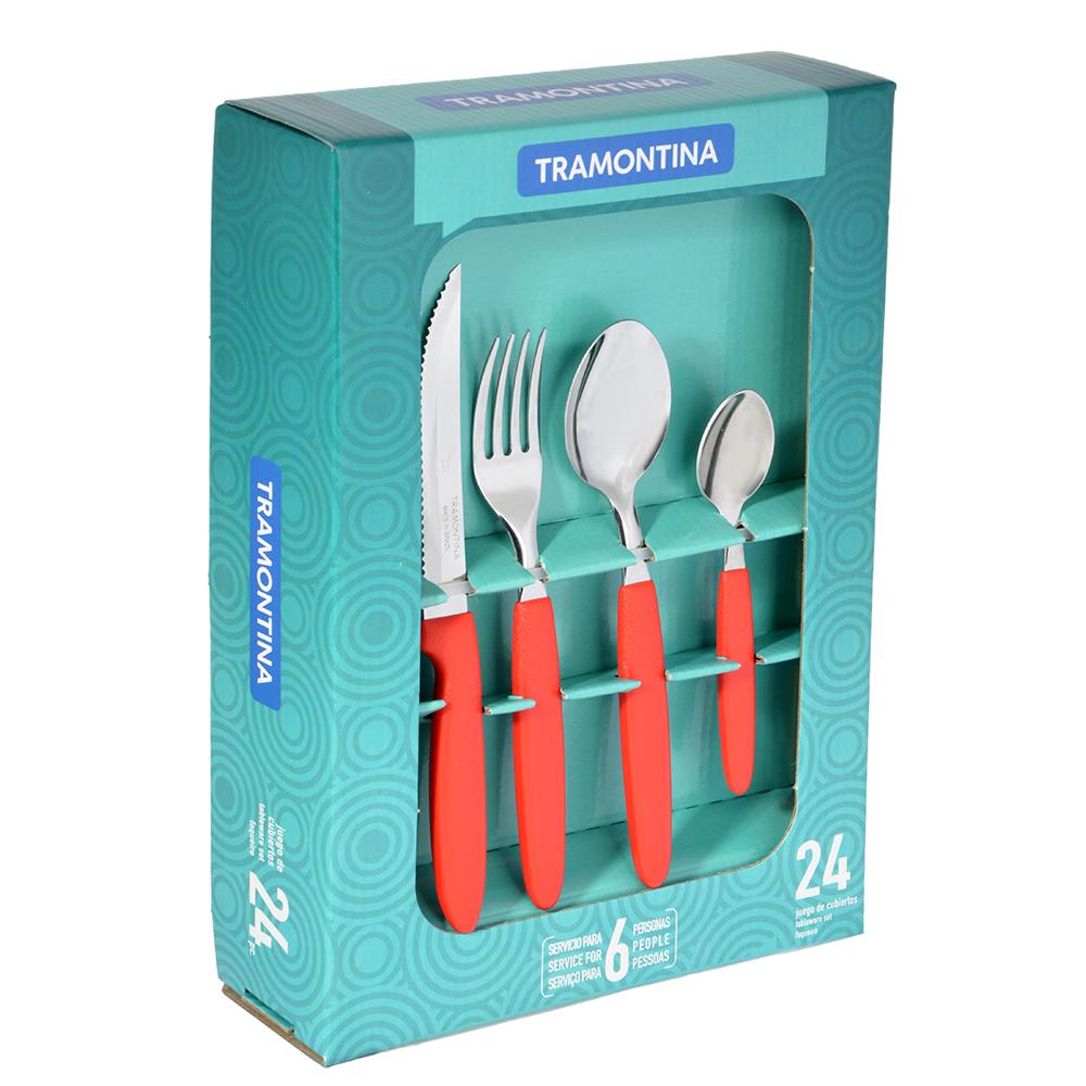 Tramontina Ipanema Набор столовых приборов 24пр, красная ручка, 23398/772