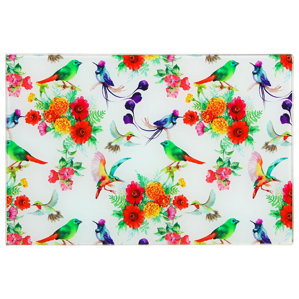 VETTA Цветы Доска разделочная стеклянная, 20х30х0,4см