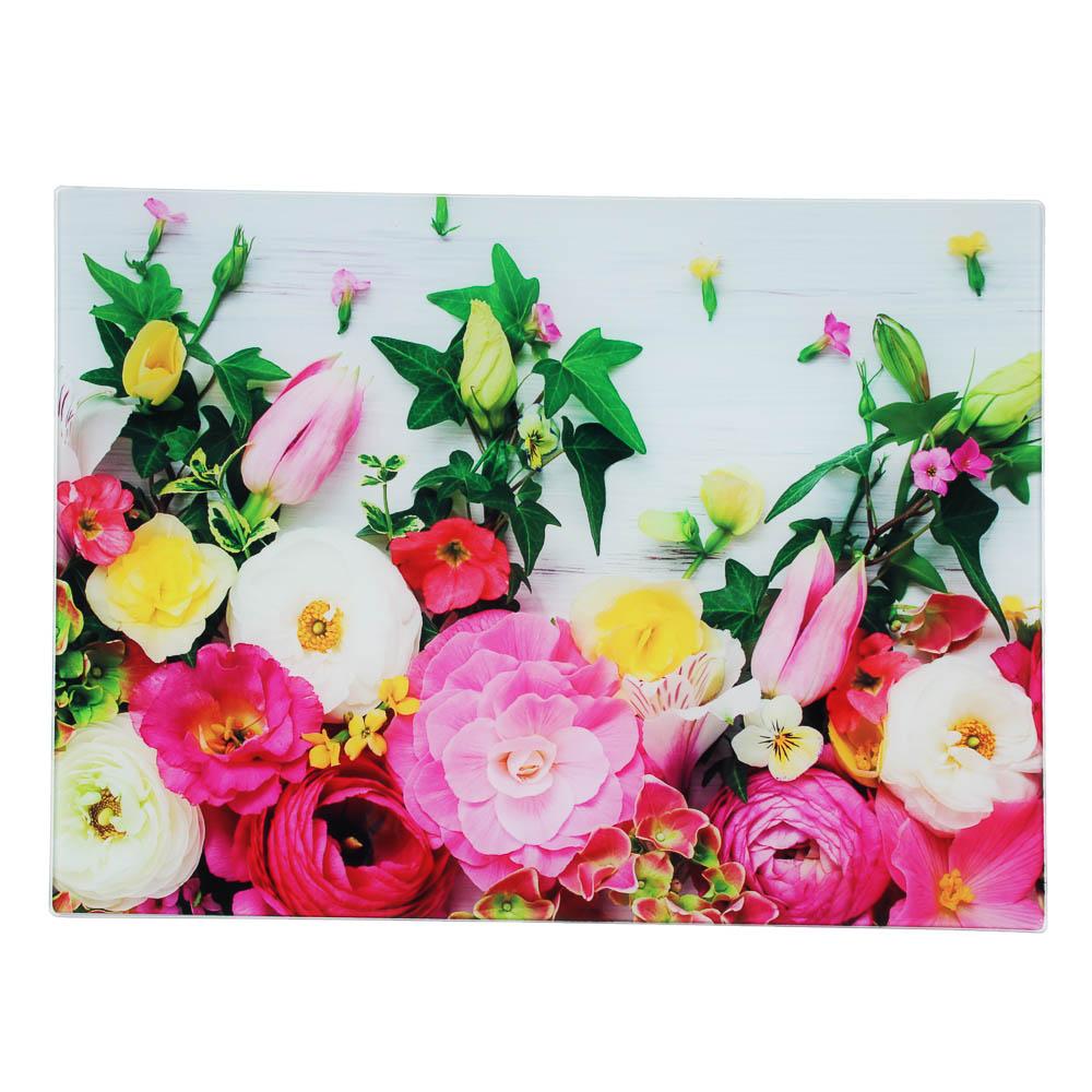 VETTA Цветы Доска разделочная стеклянная, 30х40х0,4см