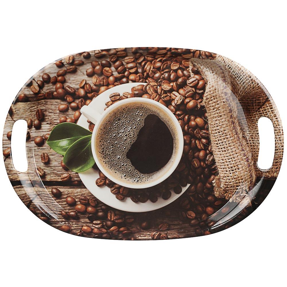 VETTA Аромат кофе Поднос овальный, пластик, 38,5х27х3см, 2 дизайна