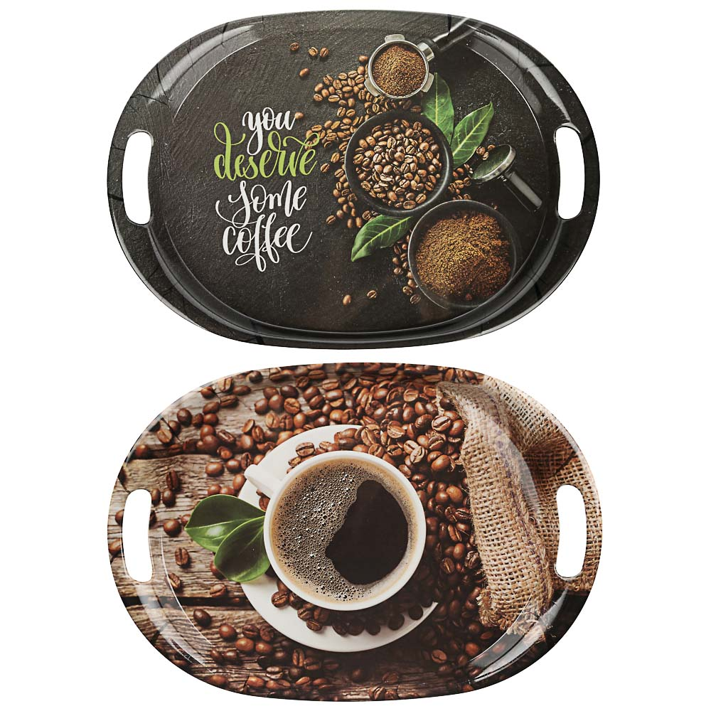 VETTA Аромат кофе Поднос овальный, пластик, 38,5х27х3см