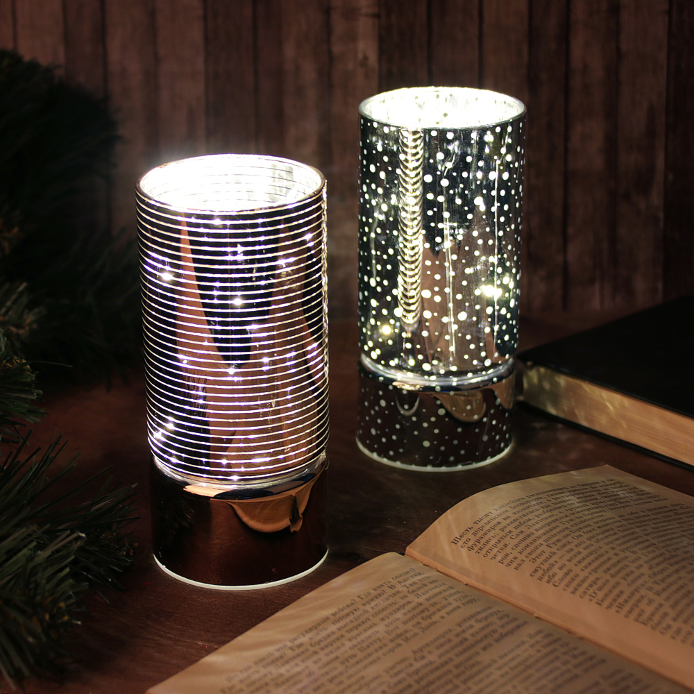 Светильник LED с гирляндой, 15х7 см, стекло, 2хАА, без батареек, 2 цвета, арт1
