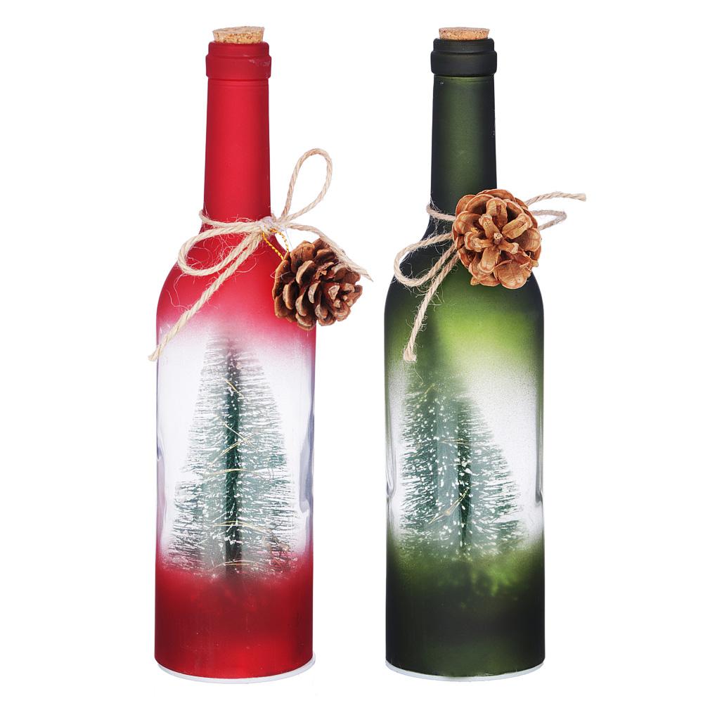 Светильник светодиодный Бутылка с елочками СНОУ БУМ 7,3х29 см, стекло, 3xAAA, без батареек, 2 цвета