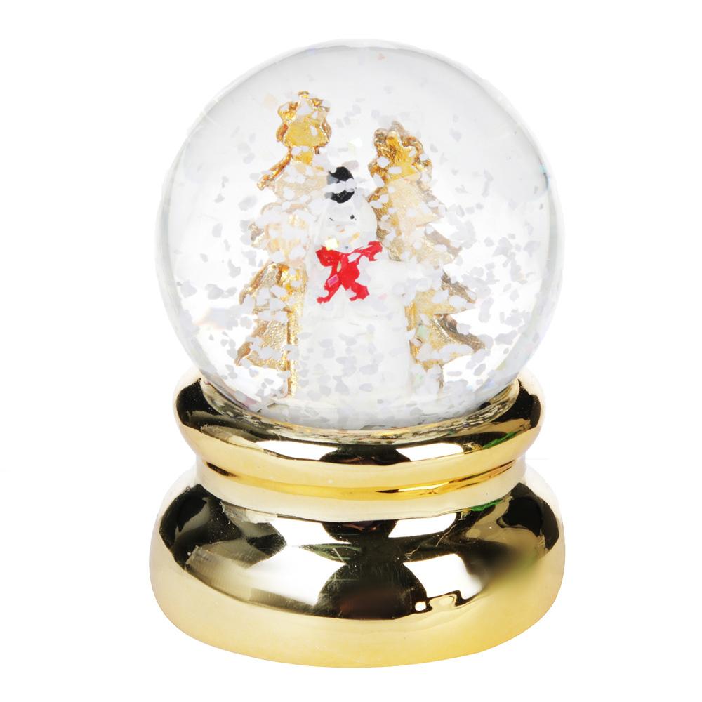 """Шар снежный СНОУ БУМ """"Новогодний""""  6,3 см, полистоун, 2 дизайна на золоте"""