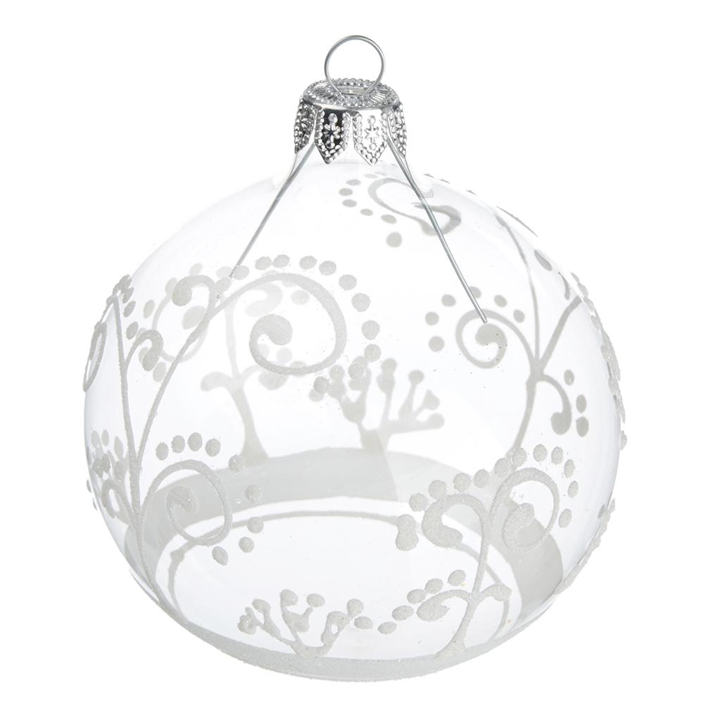 """Елочный шар стеклянный СНОУ БУМ """"Зимний"""", d.85 мм, 4 дизайна, ручная работа"""