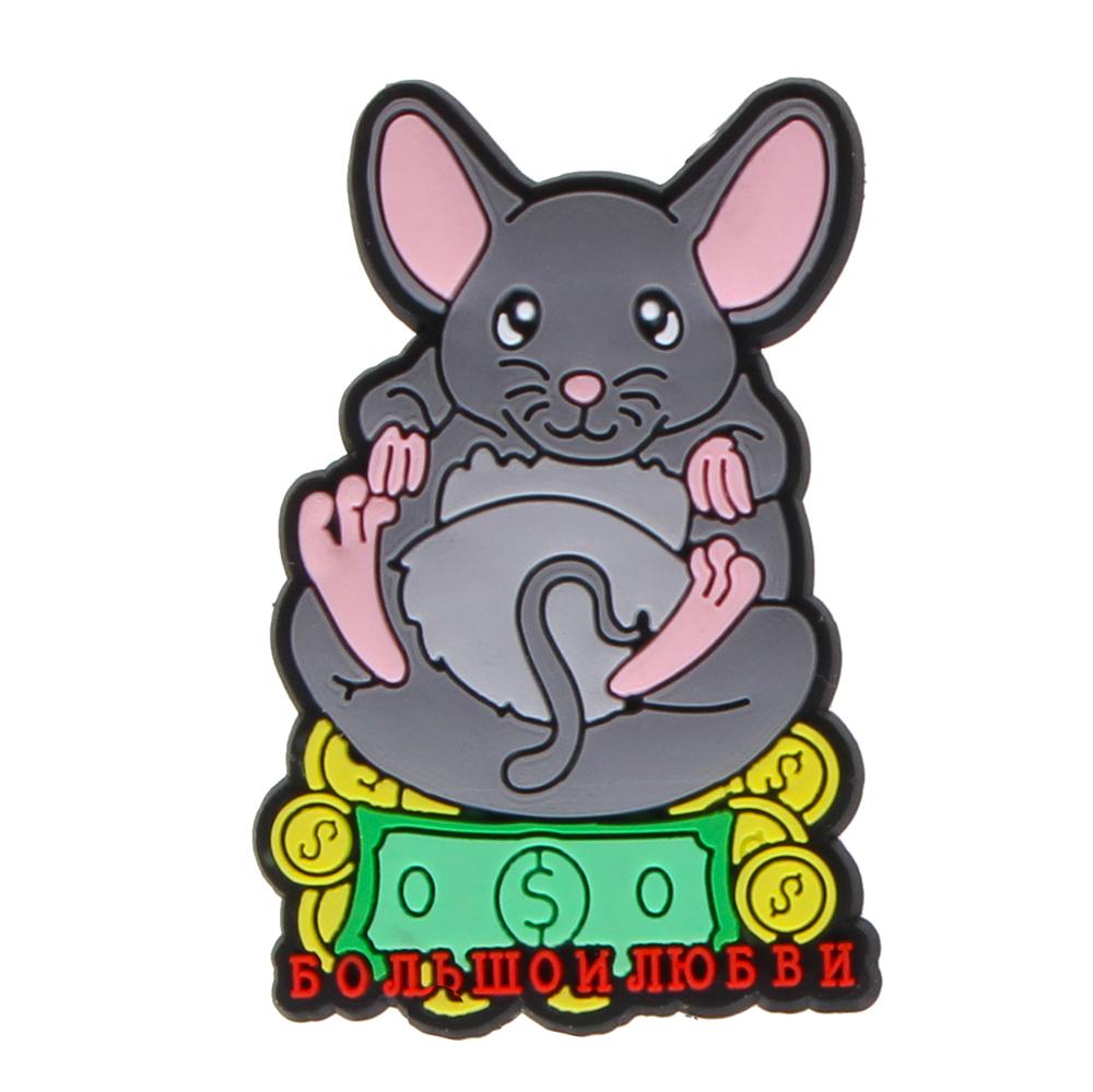 Магнит Мышка СНОУ БУМ Символ Года 4,5х3,2см, ПВХ, 4 дизайна