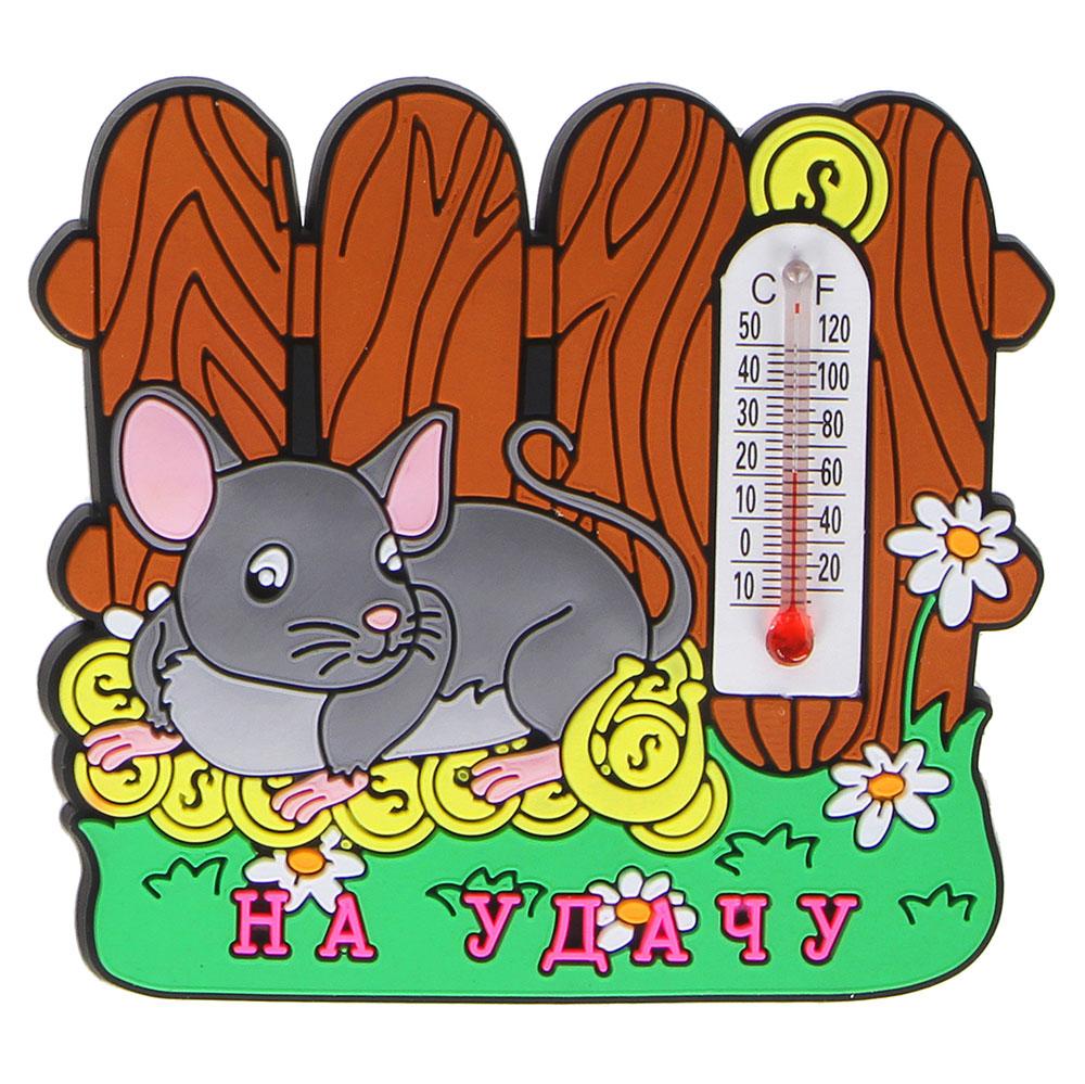 Магнит с термометром Мышка СНОУ БУМ Символ Года, 5,5х6 см, ПВХ, 4 дизайна