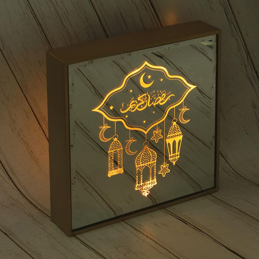 Светильник зеркальный, 21,5х21,5х3,5см, МДФ, стекло, МТ 2, 3AAA.