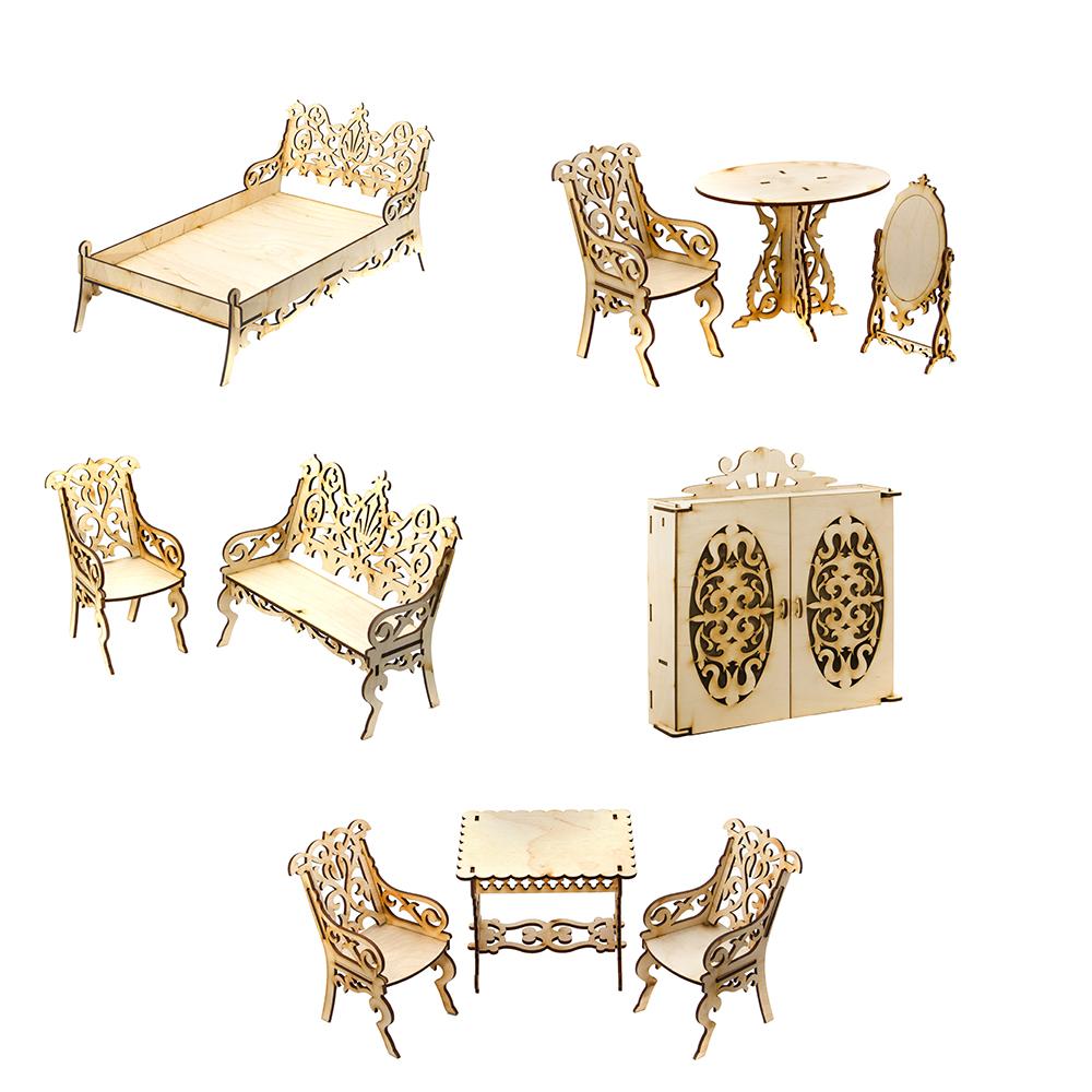 ТЕРЕМОК Мебель для кукол столик/столовая/кровать/шкаф/гостиная, фанера, 19х14х3см, 5 дизайнов