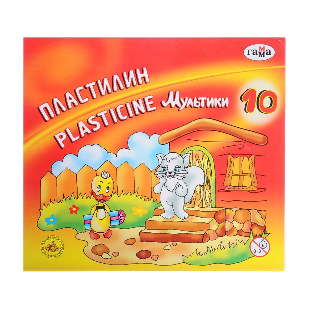 """ГАММА Пластилин 10 цветов 200 гр. """"Мультики"""", со стеком, в картонной упаковке, 280017"""
