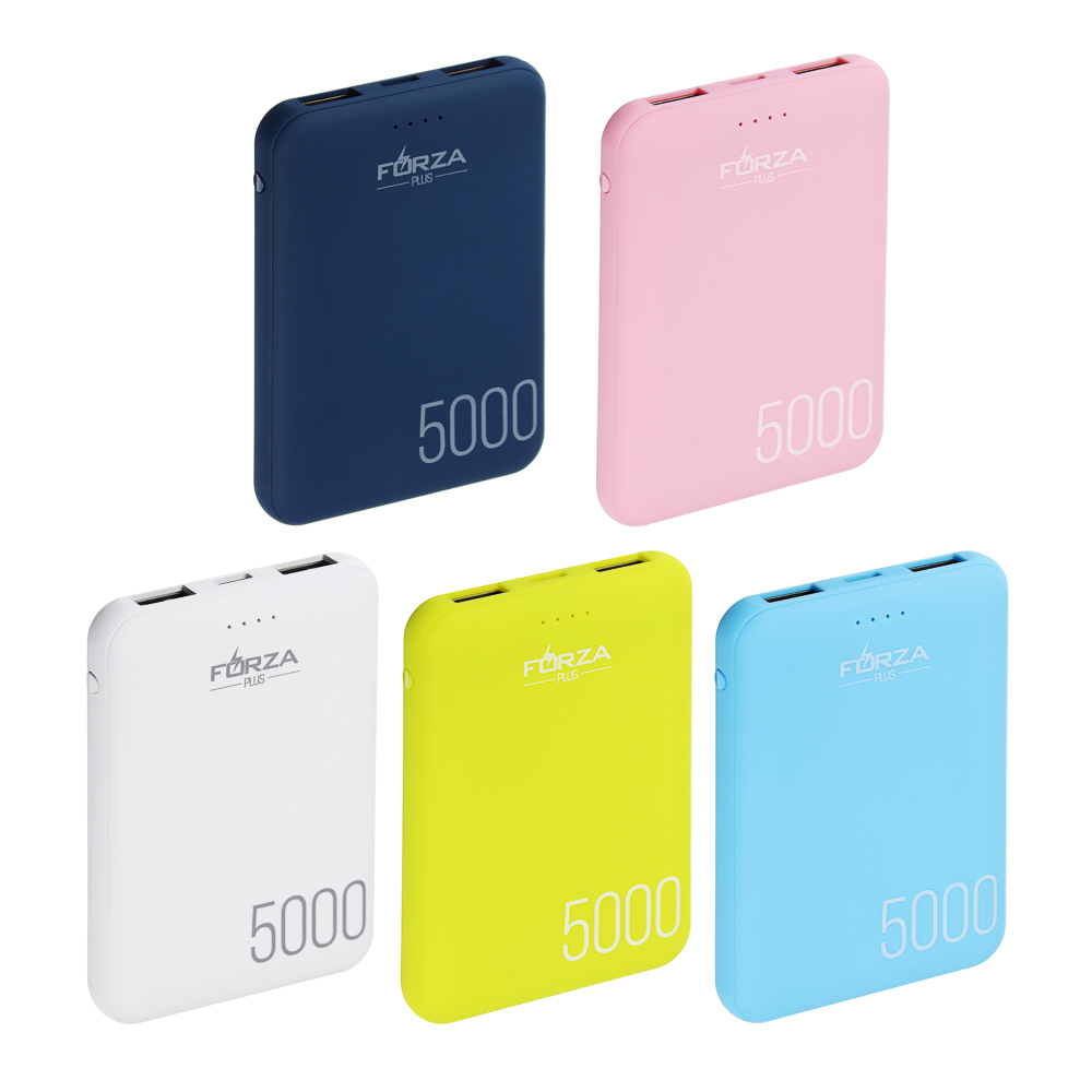 Аккумулятор мобильный FORZA 4000мАч, 1А, пластик, 4 цвета