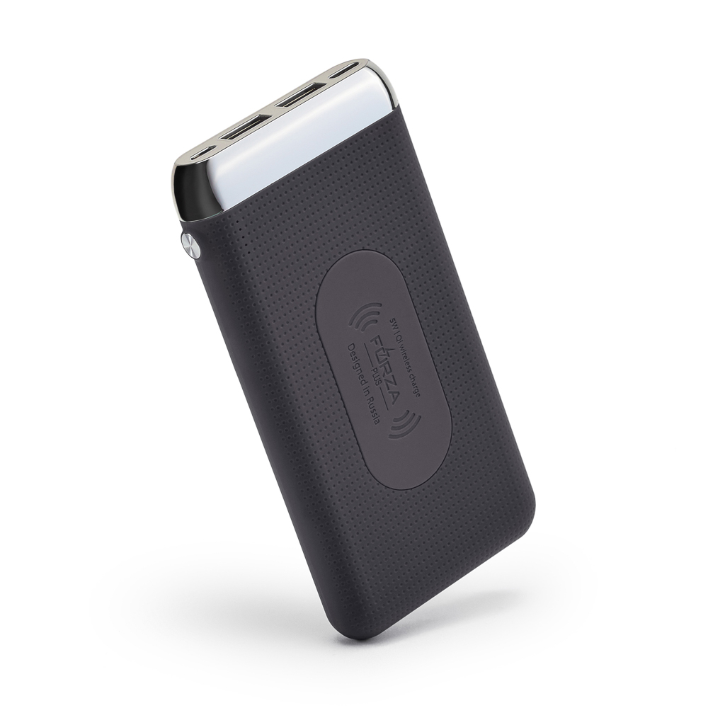 Аккумулятор мобильный беспроводной FORZA 8000 мАч, 2 USB, 2А, прорезиненный, пластик, черный