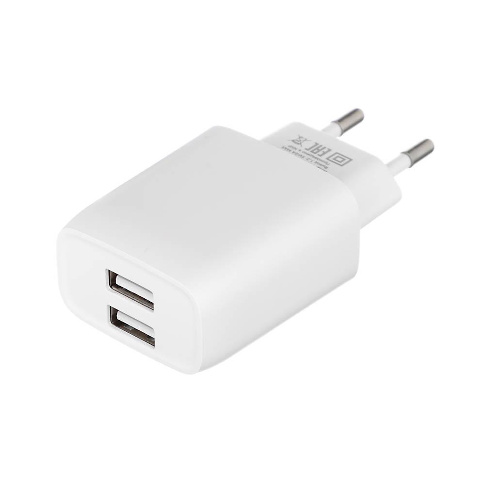 Устройство зарядное FORZA 220В, 2 USB, 2А, пластик, белое