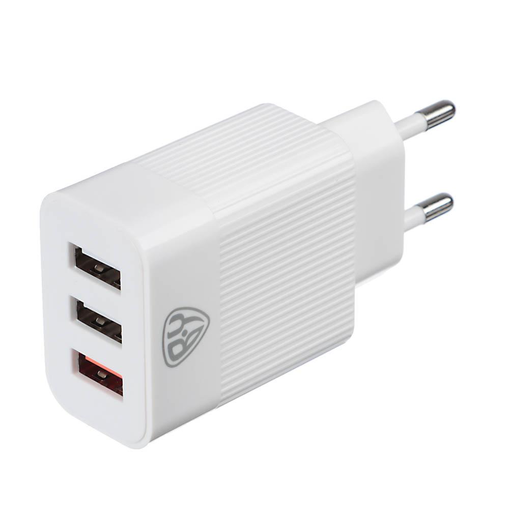 Устройство зарядное FORZA 220В, 3 USB, 3.4А, быстрая зарядка QC3.0, пластик, белое