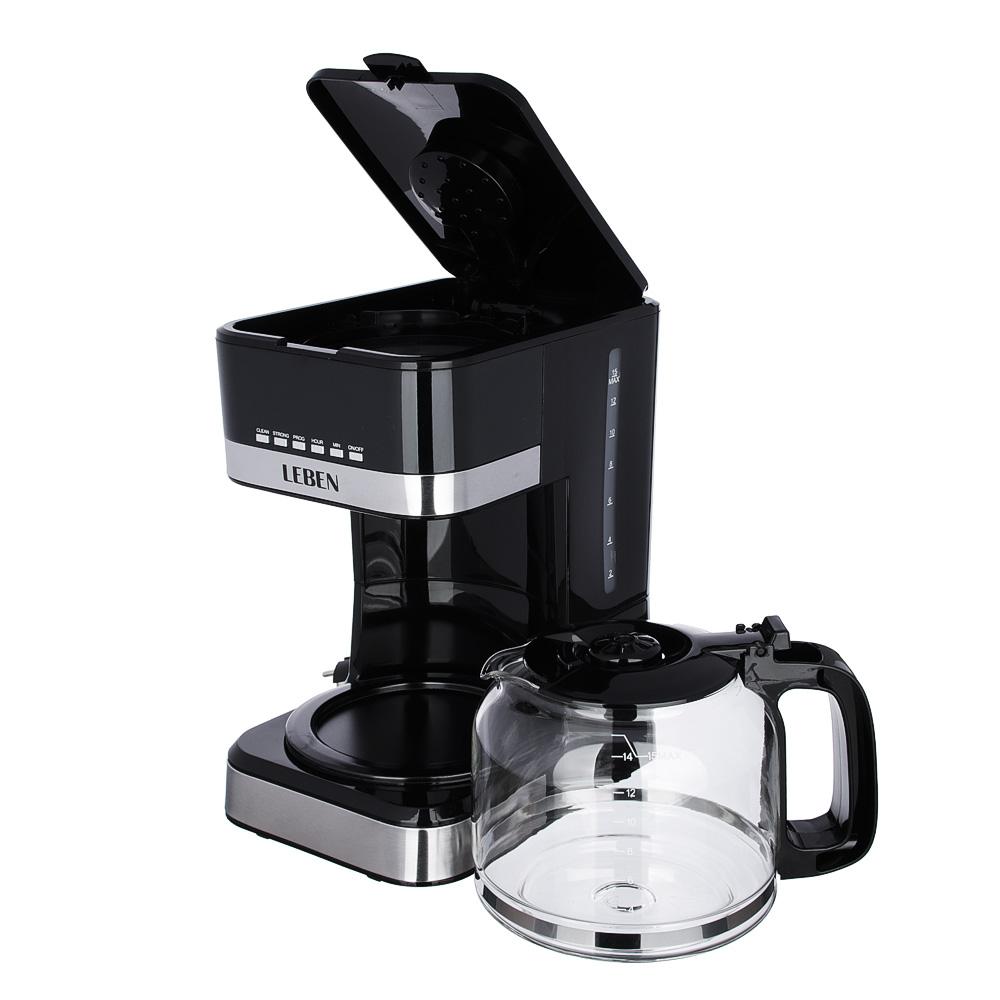 Кофеварка капельная с таймером LEBEN, на 15 чашек, колба 1,8 л
