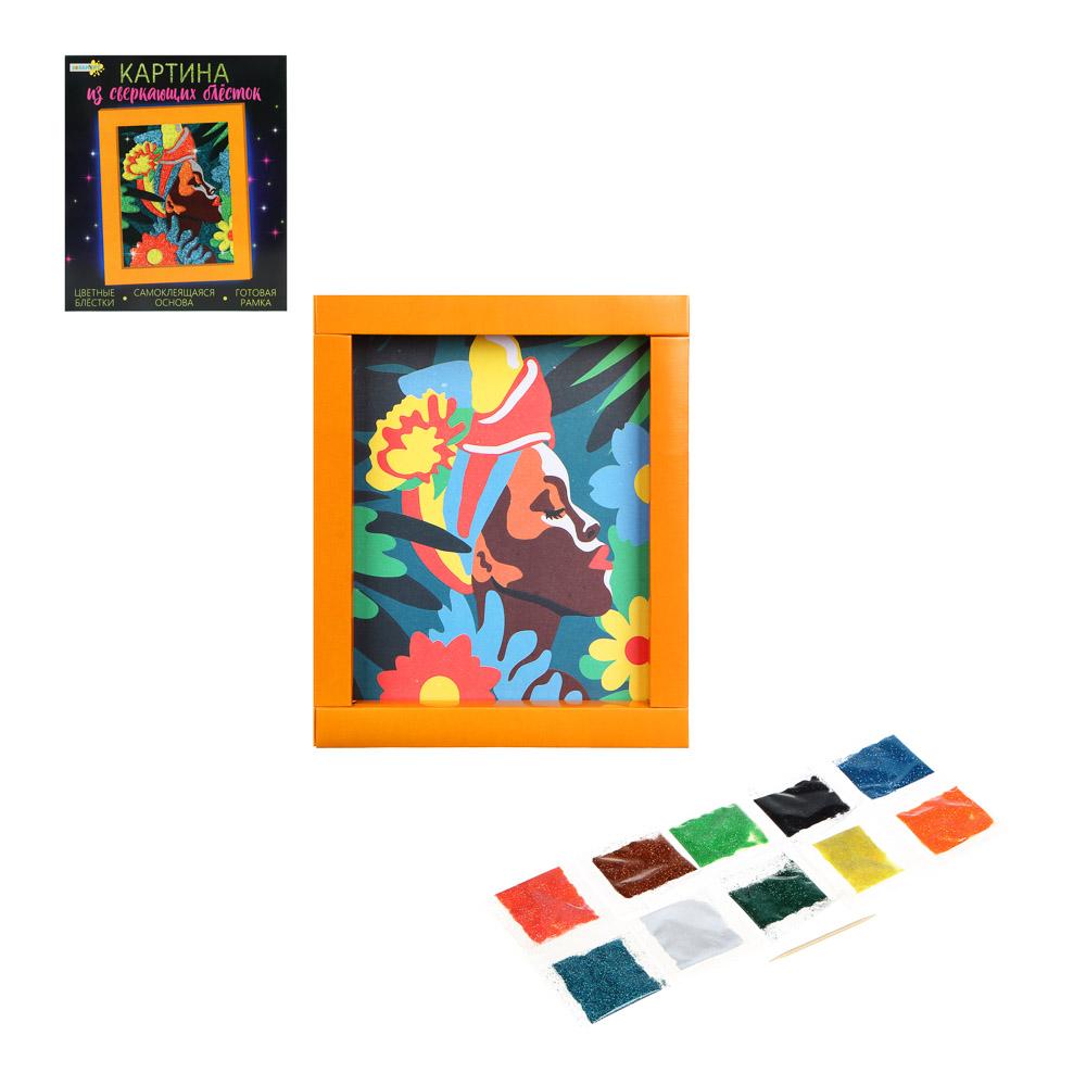 ХОББИХИТ Картина сверкающими блестками, картон, песок, 23х20х2,5см, 6 дизайнов