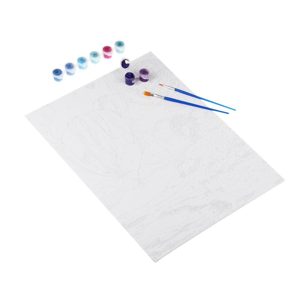 ХОББИХИТ Картина по номерам, комплект (основа, акриловые краски, кисть), 30х40см, 12 дизайнов