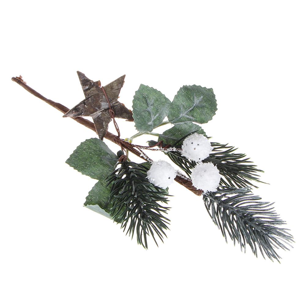 Ветка декоративная еловая с белыми ягодами СНОУ БУМ 30 см, пластик, дерево, 3 дизайна