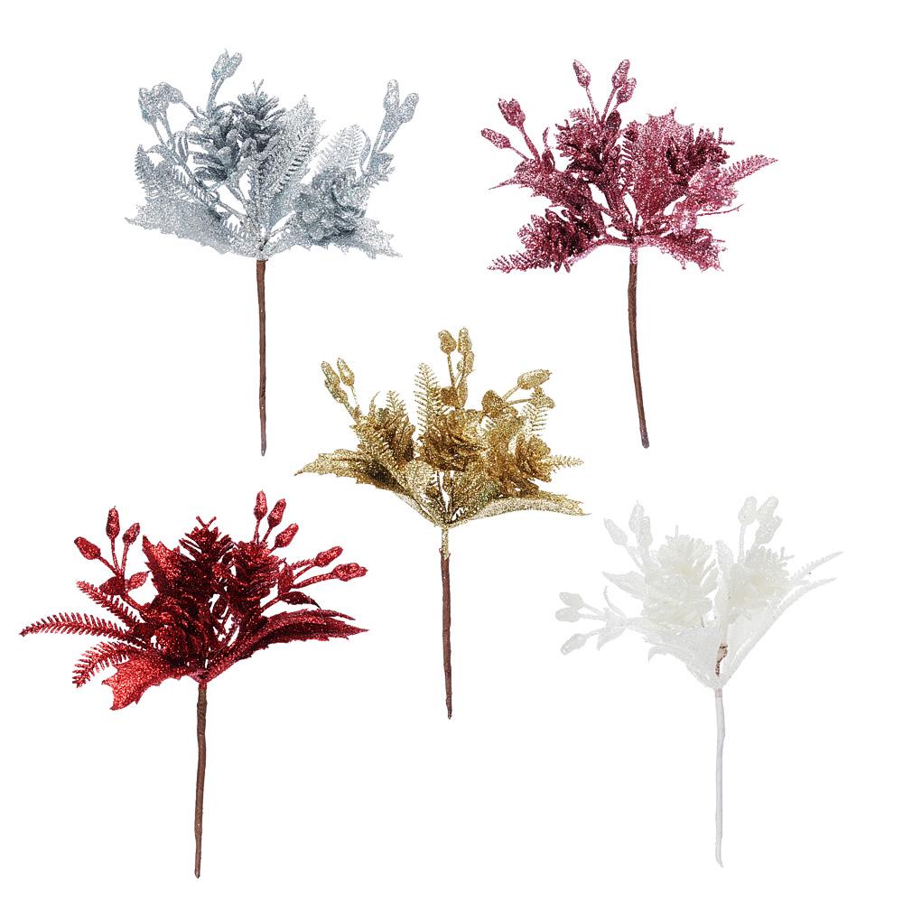 Ветка декоративная еловая СНОУ БУМ 14 см, пластик, 5 цветов