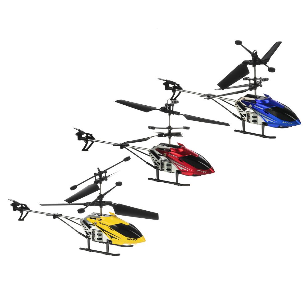 ИГРОЛЕНД Вертолет радиоуправляемый, 3,5 канала, гироскоп, АКБ, ЗУ, пласт., 43х16,5х7,4см, 4 цвета
