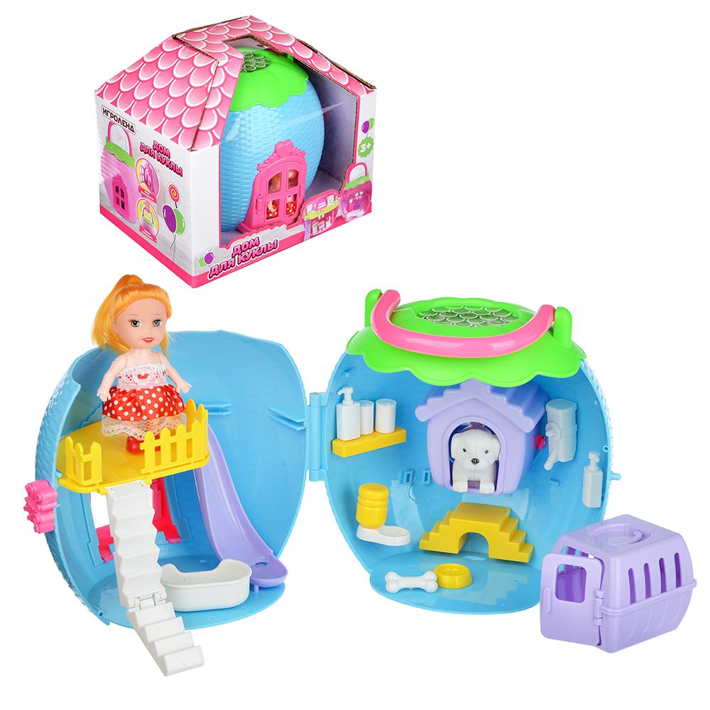 ИГРОЛЕНД Дом-яблоко для куклы с мебелью и фигуркой, пластик, 20х13,5х18см, 3 дизайна