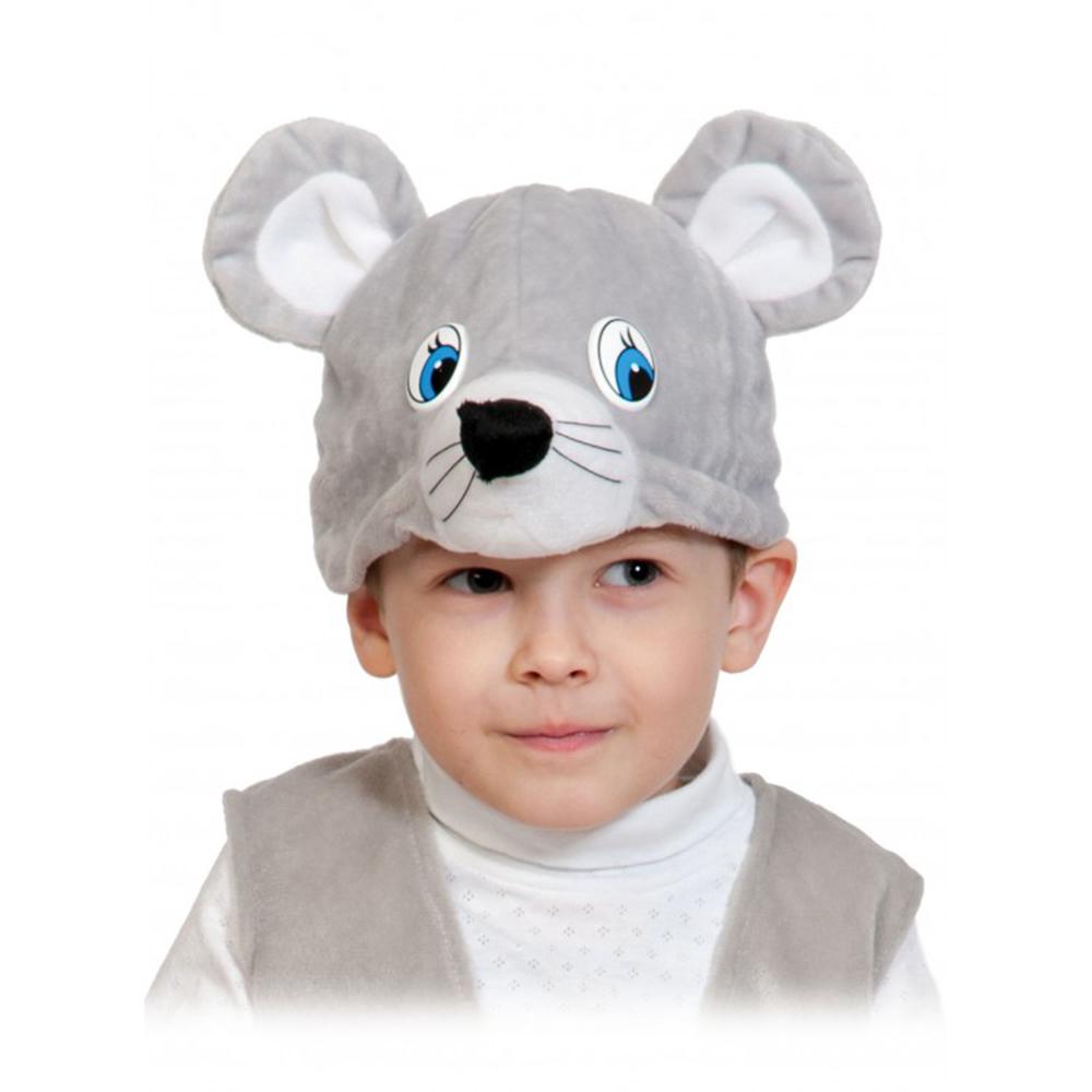 """Карнавальная маска-шапочка """"Мышка"""" размер 53-55 см, плюш"""