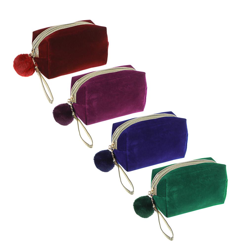 PAVO Косметичка с помпоном, полиэстер, иск.мех, 19х10,5х7,5см, 4 цвета