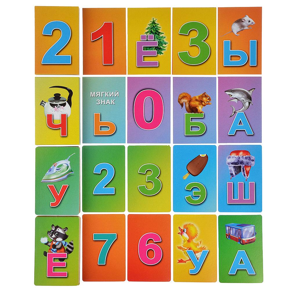 """РЫЖИЙ КОТ Карточки обучающие """"Азбука и цифры""""на магнитах, в пакете,50 шт,бумага,17,5х12см,4 дизайна"""