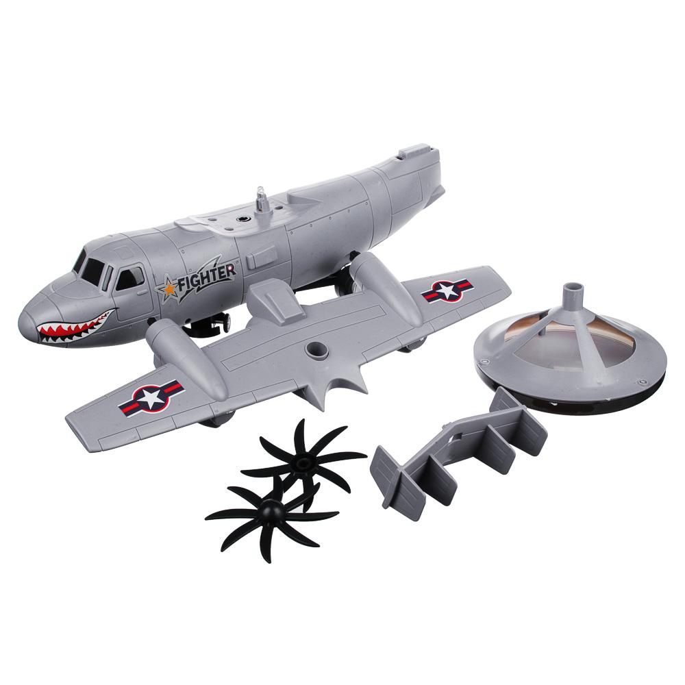 """ИГРОЛЕНД Самолет """"Неудержимый"""", свет, звук, движение, датчики препятствий, 3АА, пластик, 35х13х14см"""
