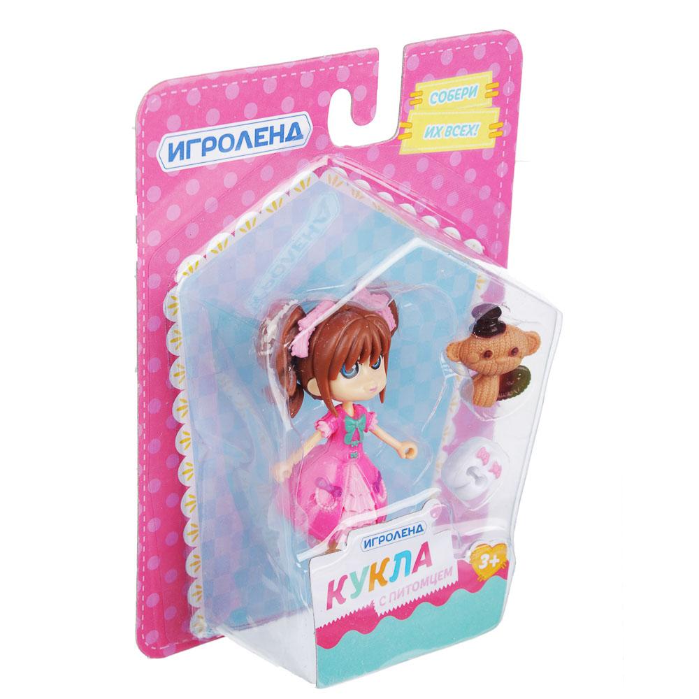 ИГРОЛЕНД Мини фигурка куклы с питомцем и аксессуарами, пластик, 12,5х16,5х5 см, 6 дизайнов