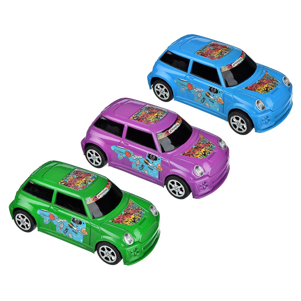 ИГРОЛЕНД Машина городская, инерция, пластик, 17х8х6см, 3 цвета