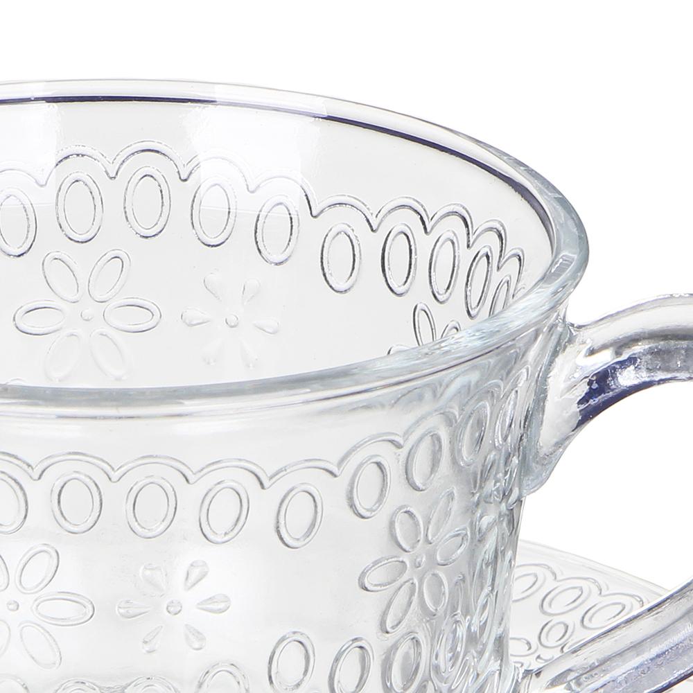 """Чайная пара (кружка 200мл с блюдцем), стекло, """"Ажур"""""""
