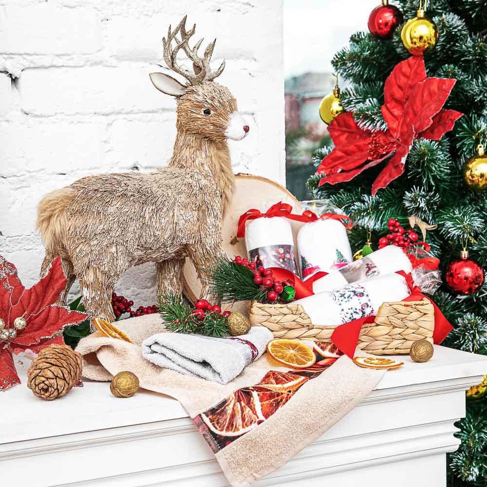 """Полотенце подарочное PROVANCE, """"Новогоднее"""", 100% хлопок, 30х50см, 350гр/м, 6 дизайнов"""