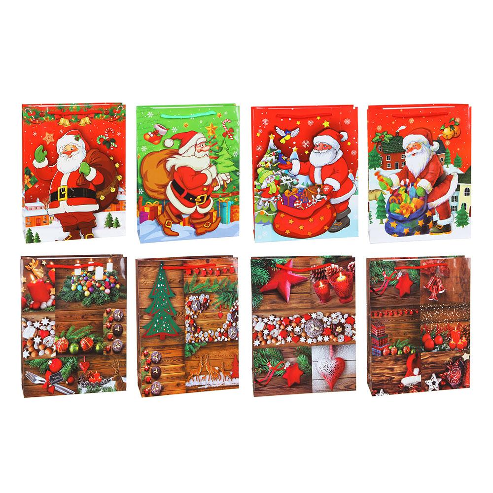 Пакет подарочный СНОУ БУМ бумажный, 30х23х8 см, 8 дизайнов