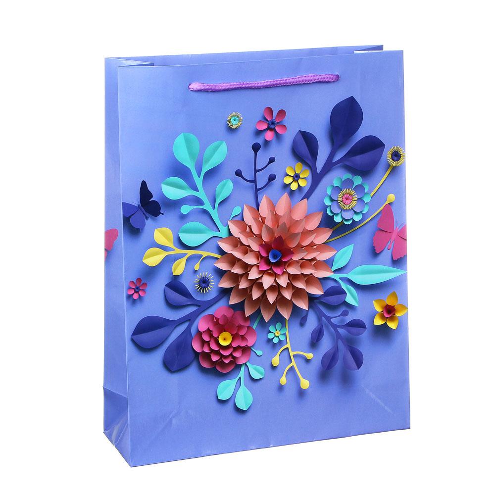 Пакет подарочный бумажный 30х23х8 см, 8 дизайнов
