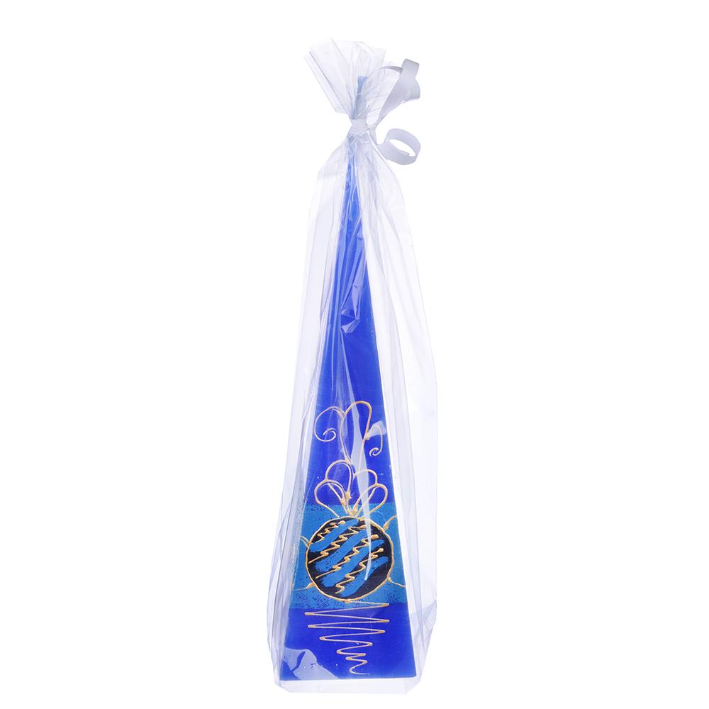 Свеча парафиновая пирамида, синяя, с ручной росписью, 23см