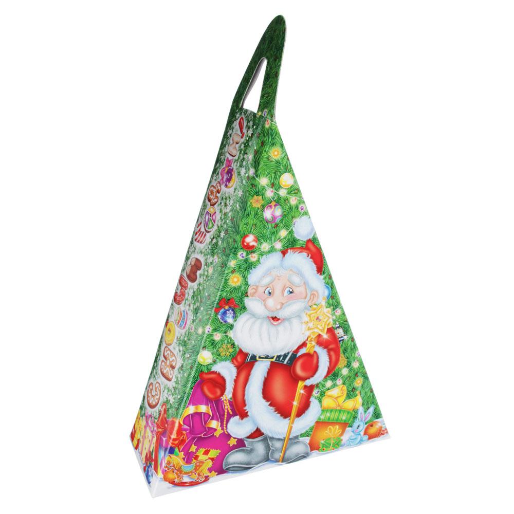 """Коробка для подарков """"Новогодний треугольник"""", картон 320г, 150х65х205мм, до 350г"""