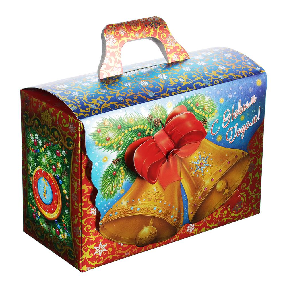 """Коробка для подарков """"Колокольчики"""", металлизированный картон 390г, 210х150х100мм, до 1000г"""