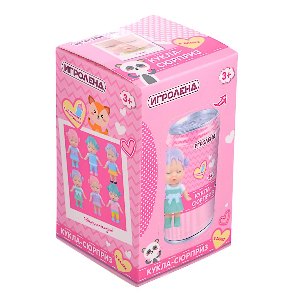 ИГРОЛЕНД Кукла-сюрприз в банке, пластик, 6,3х11см, 6-12 дизайнов