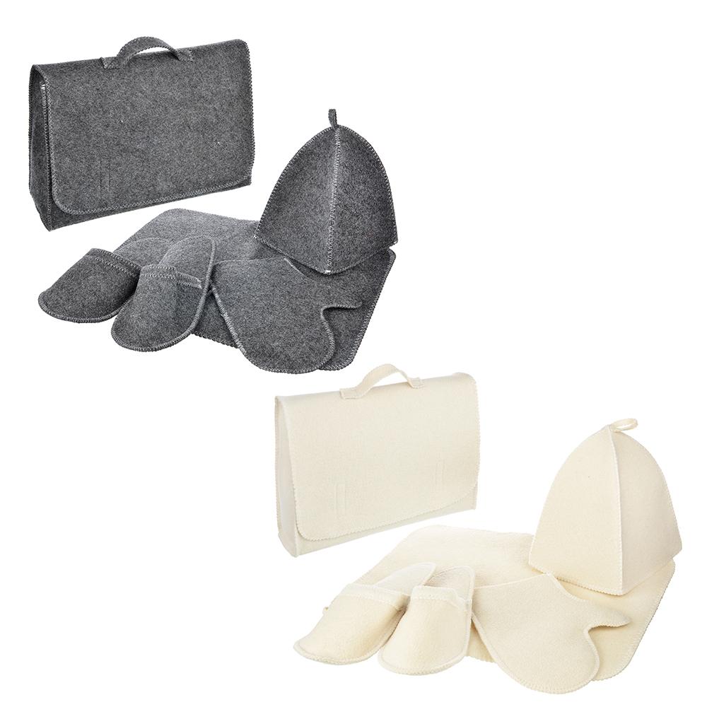 """Набор банный """"Портфель"""", 5 пр. без вышивки, 30% шерсть,70% полиэфир, 2 цвета"""