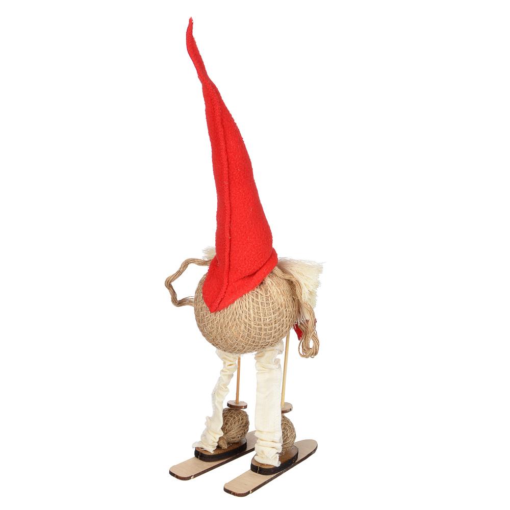 Фигурка в виде гнома, 32х9 см, 2 дизайна, ткань мешковина джутовая,флис, нитки х/б, фанера березовая
